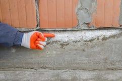 Irregularities on the foundation, caused by saltpeter, capillary moisture stock photos