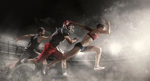 Multi sports collage about basketball, American football players and fit running woman. Irresistible in attack. Multi sports collage about basketball, American royalty free stock photography