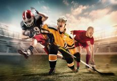 Multi sports collage about ice hockey, soccer and American football players at stadium stock images