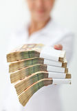 Irresistible financial offer concept. Irresistible financial offer with uncertain sources concept - extremely shallow depth of field Stock Images