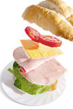 Irresistible ham sandwich on white background Stock Photo