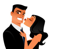 Irresistible seducer vector. Woman who can't help kissing her handsome smiling boyfriend.Vector based illustration with white background Royalty Free Stock Images