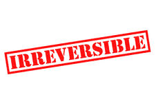 IRREVERSIBLE. Red Rubber Stamp over a white background Stock Image