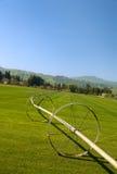 Irrigação da exploração agrícola da grama Foto de Stock Royalty Free