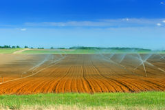 Irrigación de las tierras de labrantío Imágenes de archivo libres de regalías