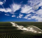 Irrigación en granja Fotografía de archivo libre de regalías