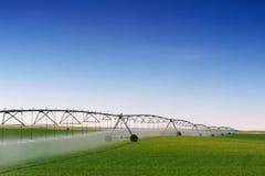 Irrigación de la cosecha Foto de archivo libre de regalías