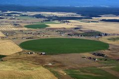 Irrigated farm land. Aerial view of irrigated farm land in western Montana USA Stock Image