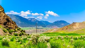 Irrigated fertile farmland along the Fraser River as it flows through the canyon to the town of Lillooet in the Chilcotin region. On British Columbia, Canada royalty free stock photo