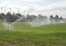 Irrigated Football Pitch Stock Photos