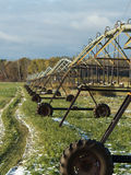 Irrigated Hay field. An Irrigation system in an Alfalfa field Royalty Free Stock Photo