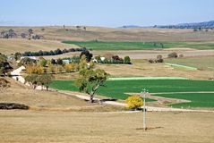 Irrigated Paddocks. In a drought-stricken region of New South Wales, Australia Stock Photography