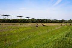 Irrigatie op het landbouwbedrijf Stock Afbeelding