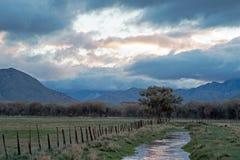 Irrigatiekanaal die veeboerderij tijdens het vroege oosten van de ochtendzonsopgang enkel van door de droogte geteisterd Meer Isa Royalty-vrije Stock Foto
