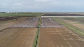Irrigatiesysteem op landbouwgrond stock footage