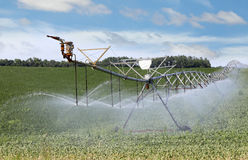 Irrigating Farm Field Stock Photo