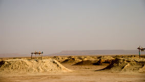 Irrigating system in Sahara royalty free stock photos