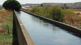 Irrigation canal in the field stock video