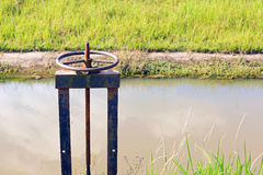 Irrigation Canal and Floodgate valve Royalty Free Stock Images