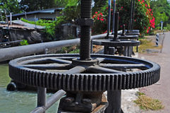 Irrigation Canal and Floodgate valve Stock Photography