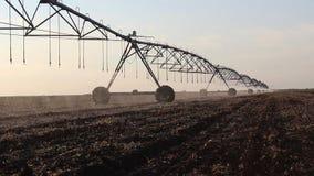 Irrigation centrale de pivot au coucher du soleil 5 banque de vidéos