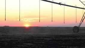 Irrigation centrale de pivot au coucher du soleil 8 banque de vidéos