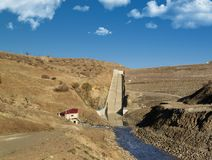Irrigation channels. Agricultural irrigation channels and dam line Stock Photo