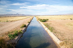 Irrigation Ditch with Flowing Water Royalty Free Stock Photography