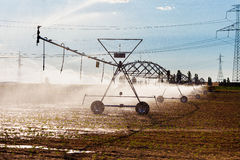 Irrigation and Electric Power Royalty Free Stock Images