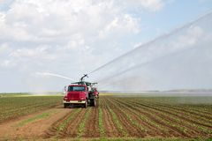 Irrigation of farmland Stock Photography