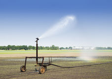 Irrigation at the field Stock Photo