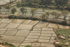 Irrigation and fields, Hampi, India royalty free stock images