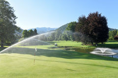 Irrigation of the golf course at Magliaso Stock Images