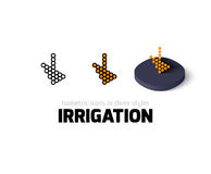 Irrigation icon in different style. Irrigation icon, vector symbol in flat, outline and isometric style Stock Images