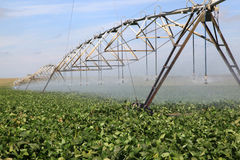 Irrigation. Industrial irrigation system on a farm cultivating soy beans Stock Photography