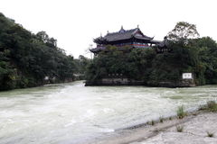 Irrigation infrastructure. Dujiangyan is an irrigation infrastructure built in 256 BC during the Warring States period of China by the State of Qin. It is Royalty Free Stock Photo