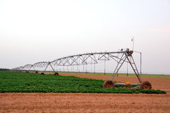 Irrigation Machine. A Lateral move, center pivot with drop sprinklers, irrigation machine stock image