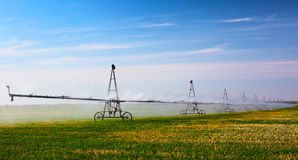 Irrigation machine waters crop on the field Royalty Free Stock Photography