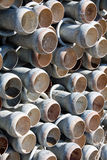 Irrigation pipes. Stack of zinc Irrigation pipes with quick closing coupling end Stock Photo