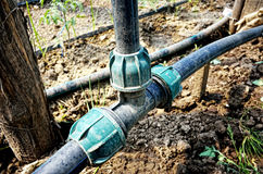 Irrigation pipes details Royalty Free Stock Image