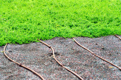 Irrigation pipes on a lawn or turf Royalty Free Stock Photography