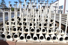 Irrigation pipes, white color, stacked on each other. For storage royalty free stock images