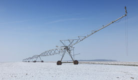 Irrigation pivot in winter Royalty Free Stock Images
