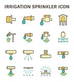 Irrigation sprinkler icon. Irrigation system and watering by sprinkler vector icon set design Royalty Free Stock Photos