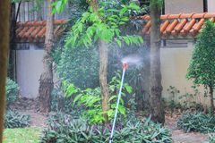 Irrigation sprinkler. S are sprinklers providing irrigation to vegetation, or for recreation, as a cooling system, or for the control of airborne dust. The Stock Image