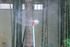 Irrigation sprinkler. S are sprinklers providing irrigation to vegetation, or for recreation, as a cooling system, or for the control of airborne dust. The Royalty Free Stock Images