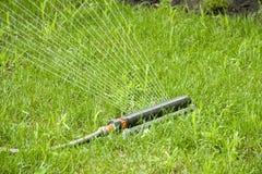 Irrigation sprinkler watering grass Royalty Free Stock Image