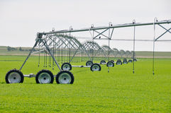 Irrigation Sprinklers In A Farm Field Royalty Free Stock Photos