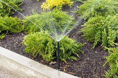 Irrigation sprinklers watering landscape Royalty Free Stock Photos
