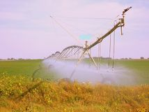 Irrigation system. Farmers above ground irrigation system Royalty Free Stock Photography